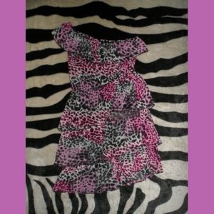 5.7.9 Purple Cheetah Print Dress off the shoulder